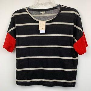 Self E Top Black Red Stripe Short Sleeve Sweater L